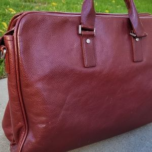 Jack Spade Leather Red Brown Laptop Bag Briefcase
